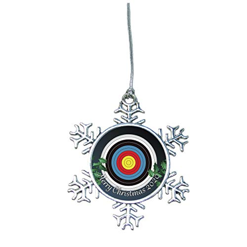 Holly Road Archery Target Field 3D Christmas Silver Ornament Choose Snowman Snowflake or Bulb (Snowflake)