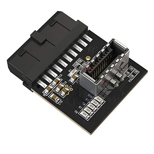 LINKUP - [Chip attivo] Connettore Scheda Madre a 20 pin USB 3.0 IDC 20 pin Interno a 3.1 Connettore Chiave a Scheda di Conversione Interna Attiva Tipo C Interna Montata sul Pannello Frontale