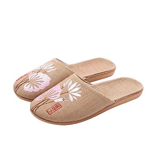 QIMITE Lino Zapatillas,Unisex Verano Casual Diapositivas Mujeres Hombres Lino Zapatillas Chino Bordado Flores Plataforma Sandalias Flip Flops Amantes Zapatos Interiores,Pink,35