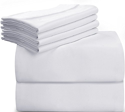6-Piece Bed Sheet Set (King - White) With 4 Pillowcases - Soft Brushed Microfiber Wrinkle - Fade and Stain Resistant Sheet Set