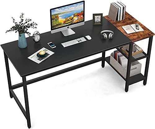 HOMIDEC Scrivania per Computer, scrivania con libreria, Tavolo da Studio, scaffale legno grezzo per l'ufficio domestico 140x60x75cm