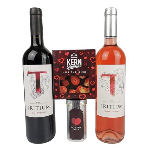 Muttertagsgeschenk | Geschenkidee für Beste Freundin, Freundin oder Frau | Wein Probierpaket Rosé Rotwein Schokolade Karamell-Meersalz Mandeln (Mix)