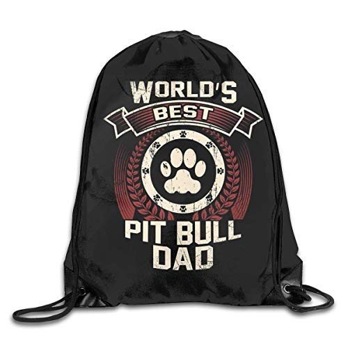 BK Creativity Drawstring Gym Bag,World'S Best American Pitbull Terrier Gift Dog Dad String Backpack Bag,Suitable Cinch Bags For Climbing Hiking Travelling,36x43cm