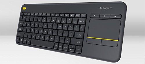 Logitech K400 Plus Kabellose TV-Tastatur mit Touchpad, 2.4 GHz Verbindung via Unifying USB-Empfänger, Programmierbare Multimedia-Tasten, Windows/Android/ChromeOS, Belgisches AZERTY-Layout - schwarz