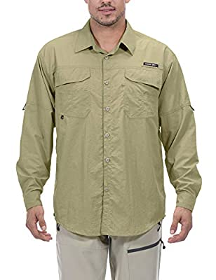 Little Donkey Andy Men's UPF 50+ UV Protection Shirt, Mosiquito Repellent Long Sleeve Fishing Hiking Shirt Beige 4XL