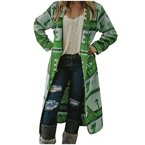 Abrigo para Mujer, Moda para Mujer, Manga Larga, Estampado de Flores, Bolsillo Personalizado, Informal, Prendas de Vestir largas, Chaquetas y Abrigos (Verde XL)