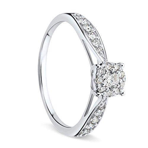Orovi Anello Donna in Oro Bianco con Diamanti Taglio Brillante Ct 0.3 Oro 9 Kt / 375
