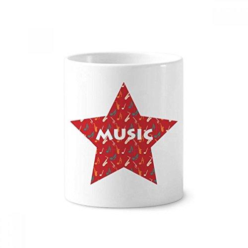DIYthinker Rote Saxophon-Musik-Anmerkungen Zahnbürste Stifthalter Tasse Weiß Keramik Tasse 350ml 4 Zoll hoch x 3 Zoll Durchmesser Mehrfarbig