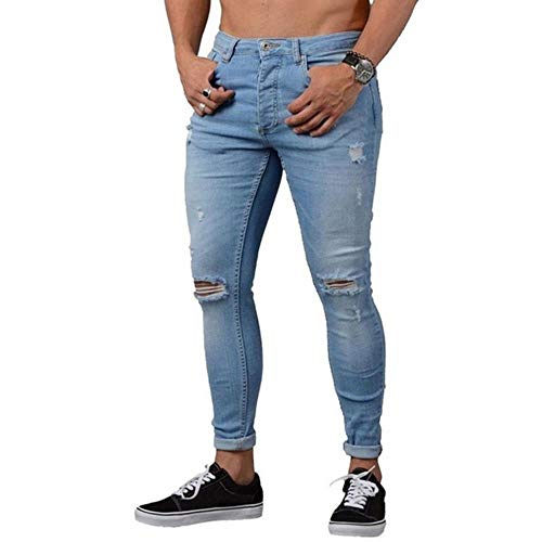 TOSISZ Mens Brand Skinny Jeans Pant Casual Trousers Denim Black Jeans Stretch Pencil Pants Plus Size Streetwear 3XL,5 Blue,M