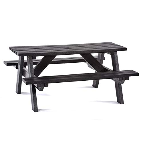 BrackenStyle Recycled Plastic Picnic Bench - A Frame Commercial Grade Park Table - 6 Person (Black)