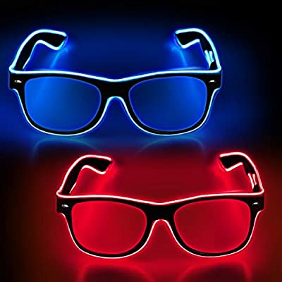 YouRfocus 2 Packs Light Up Rave Glasses Blue and Pink LED Sunglasses for Halloween Christmas Party, EDM, Disco, Concert with EL Wire Flashing and Blinking Modes