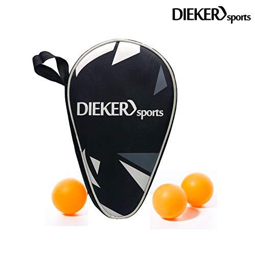 Dieker Sports Tischtennisschlaeger Hülle 2 Schläger [ +3 Bälle] - Polsterungen + Halterungen in der Tischtennisschläger Hülle - Perfekt für Anfänger, Profis und Familien