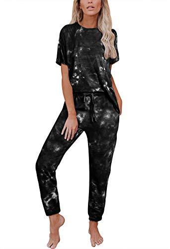 Viottiset Chándal Conjunto Mujer Tie Dye Informal Sudadera Manga Corta Pantalones De Cintura Alta Trajes Negro 2XL