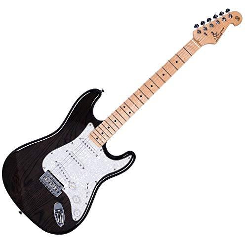 SX SC USA Swamp E-Gitarre, Ahornholz, transparent schwarz