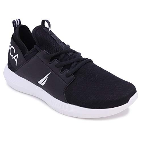 Nautica Zapatillas de deporte con cordones para hombre, estilo casual, para caminar, ligeras, negro (Negro 1), 44 EU