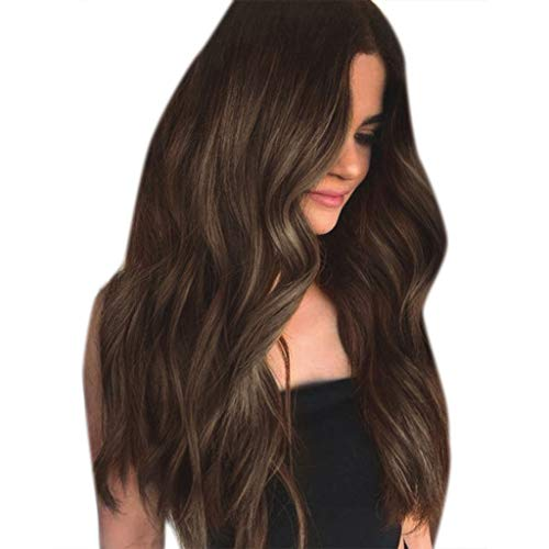 Bokeley-Wigs, 2019 Surprise Best Gift for Girlfriend Lover Wife Party Fashion Womens Synthetic Wig Grey Long Wavy Full Wigs Party Hair Wigs (Brown)