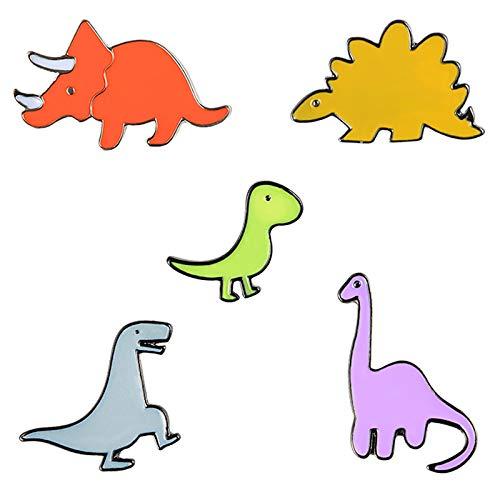 Jalan Broches de Dinosaurio, 5 Piezas de Esmalte Pin Solapa Insignias para Ropa, Bolsos, Mochilas, Chaquetas, Sombrero decoración