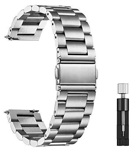 XIRUVE Correa de Reloj de Acero Inoxidable Reemplazo Liberación Rápida 14-24mm (20mm, Plata)