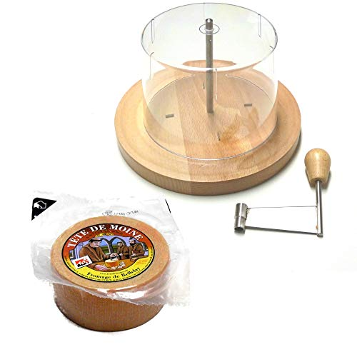 Tete de Moine Käsehobel Set Kaese halber Laib und Haube KÜHLBOX-Versand mit Styroporbox und Spezialkühlakku für Lebensmittelversand