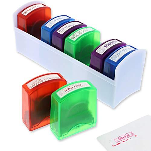 Sellos para profesor de auto entintado (8 unidades), 8 diseños, 4 colores