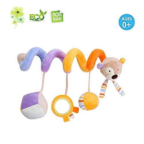 Newborn Lit/Berceaux/Buggy/Pram Hanging Jouets en peluche Animaux avec Miroir et Bell Hochet (ours)