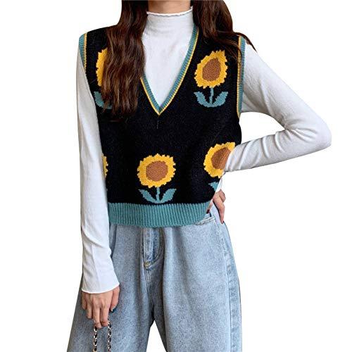 Elibeauty Damen Pullover Koreanischer Stil Casual Weste Herbst Ärmellos V-Ausschnitt Pullover Sonnenblumen Strickweste (BK-F)