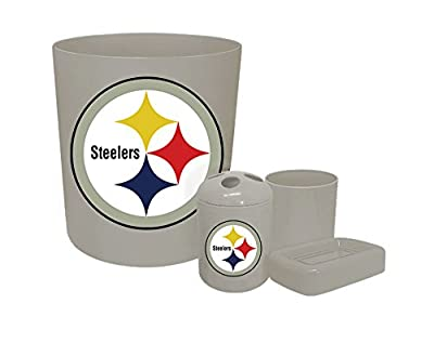 The Furniture Cove New Plastic 4 Piece Bathroom Accessory Set in Grey Featuring Your Choice of a Football Team Logo (Steelers Black)