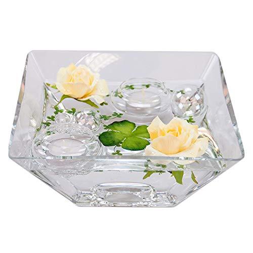 Eckige Glas-Schale Teelicht H.7,5cm Länge x Breite 20cm. Flache Dekoschale eckig mit Dekorations Set Rose hellgelb Dekoglas Glasgefäß mit ausgefallener Deko für Ihre Deko Ideen.