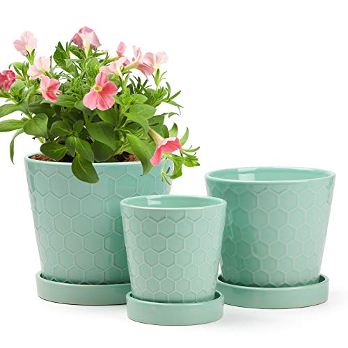 """BUYMAX Succulent Planter –4""""+5""""+6"""" inch Ceramic Flower Pot with Drainage Holes and..."""