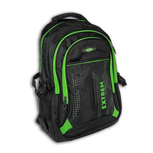 DrachenLeder Laptoprucksack schwarz, grün Synthetik Rucksack Tabletfach Bag Street OTJ605G, ohne, Schwarz, Grün