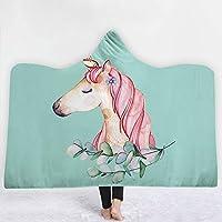 ZHUANYIYI フード付き怠惰な毛布テレビブランケットソファは、結晶カシミヤ毛布とBeiji栄の昼寝を印刷UNICORNカジュアルな漫画をベッド (Color : 13, サイズ : (Children) 150*120CM)
