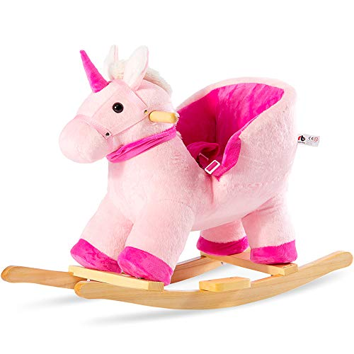 Bufccy Toddler Rocking Chair Horse Baby Toys, Wooden Animal Rider Toys with Handle Grip Safe Belt Wood Base, Perdect Gift for Boy Girl Pink