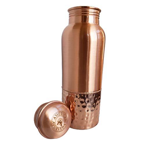 American Ayurveda 100% Pure Copper Water Bottle 600ml 20 Oz Joint Free, Leak Proof, Tumbler, Flask, Yoga, Health Benefits, Natural Ayurvedic Alkaline Water (copper bottle plain 600ml)