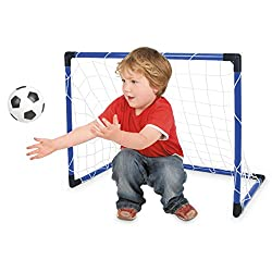 SMALL PORTABLE FOOTBALL GOAL: Easy to assemble at home or away COMPLETE SET: Includes click together goal frame, net, ball and pump to inflate EASY TO STORE: Quickly dismantle and pack away when not needed GREAT FOR PLAYTIMES: Can be used as a first ...