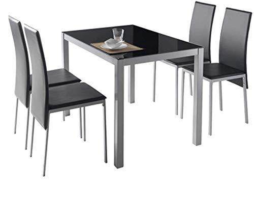 MOMMA HOME Conjunto de Mesa y Sillas Melbourne - con 4 Sillas - Mesa Fija - con Encimera de Cristal - para Salón y Cocina - Muy Elegante - Diseño Moderno Color Negro