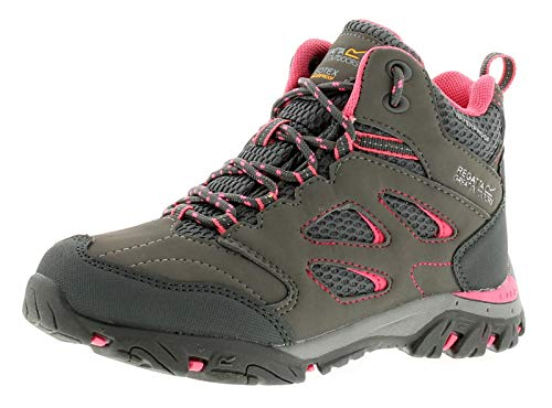 Regatta Chaussures Techniques Junior-Holcombe Iep, Hiking Boot Fille,Grey(Steel/Tulip)1 UK (33 EU) EU