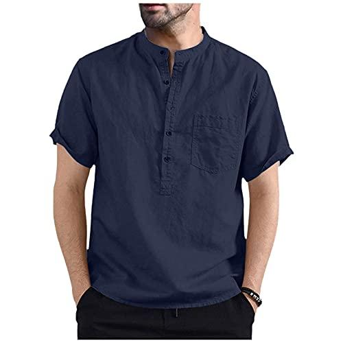 Dasongff Camiseta de verano de manga corta para hombre, estilo retro, con botones, para el tiempo libre, informal, aspecto de lino, para yoga, pescador, de corte ajustado, informal, ligera