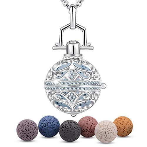 Halsketten für Frauen EUDORA Harmony Ball Aromatherapie Kette Damen Anhänger Aroma Oel Diffuser Charme Schmuck Geschenk Natürlicher Lavastein Perlen kette 7 PCS,24