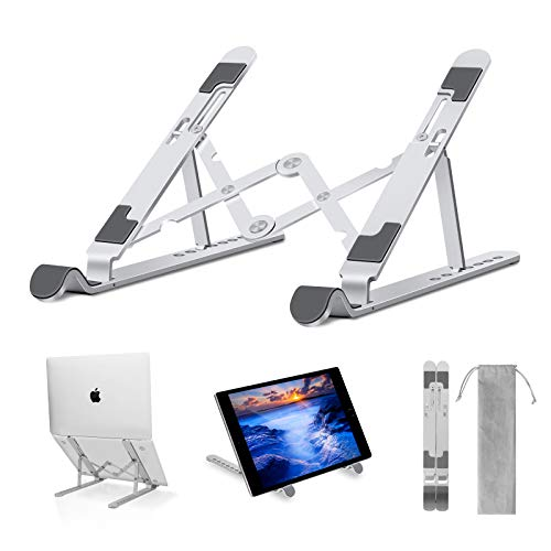 "Laptop Stand - Adjustable Aluminum Laptop Riser Laptop Holder for Desk, Portable Foldable Ventilated Cooling Notebook Stand for MacBook Pro/Air, HP, Lenovo, Sony, Dell, More 10-15.6"" Laptops, Tablet"