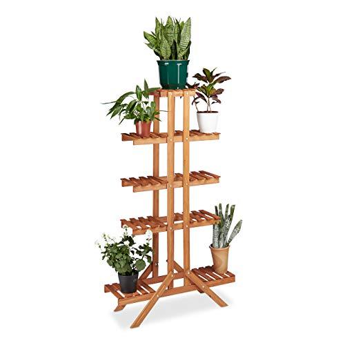 Relaxdays Blumentreppe 5 Ebenen, Aus Holz, Blumenständer für Innen, Mehrstöckig, HBT: 142,5 x 83 x 28,5 cm, hellbraun