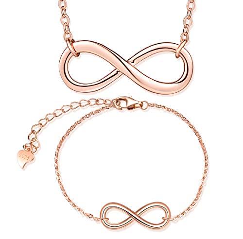 Conjuntos de joyas de plata 925, collar con símbolo de infinito en oro rosa, pulsera con símbolo de infinito, joyería elegante para mujer niña, regalo de Navidad y cumpleaños
