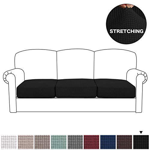 BellaHills Sofa Sitzkissenbezug Stretch Stuhl Schonbezug Spandex Elastic Couch Kissenbezüge Möbelschutz für Sofa Sitzkissen(3 Sitzer Kissen, Schwarz
