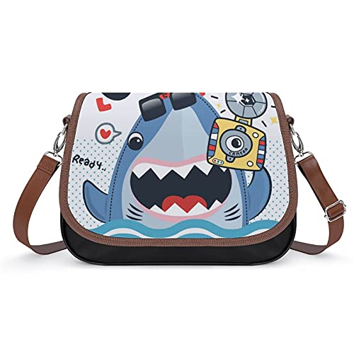 Xingruyun Bolsos Bandolera Para Mujer Cámara Ocean Shark Bolsos De Hombro Cuero Shoulder Bag Grande Capacidad Cartera Para Escuela Viaje Oficina 31x22x11cm