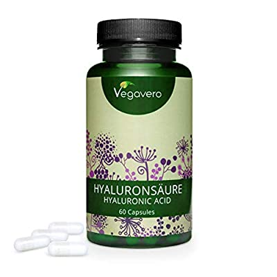 Hyaluronic Acid 400mg Vegavero® | The Only Non-Synthetic One & Without Additives | Highest Dosage in Capsules | 60 Capsules | 800-1500 kDa | Vegan | Skin + Joint Supplements