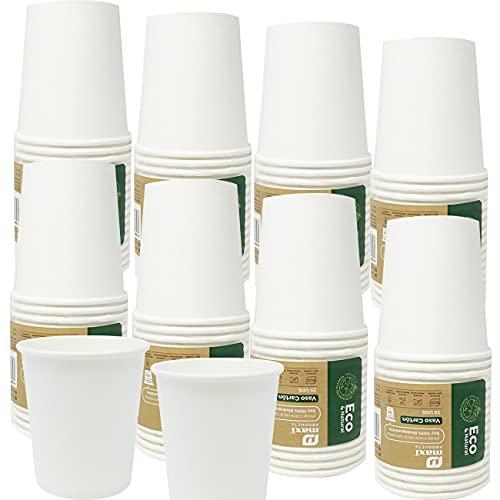 Eco Natural 200 Vasos de papel Biodegradable de 200 cc. Higiénicamente Empaquetados, Apto para Agua, Café, Bebidas Calientes y Frias. Color Blanco Desechables, 100% Ecologicos