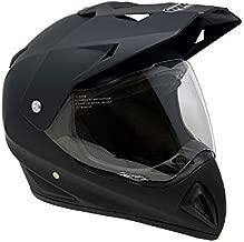 MMG Helmet 27V Dual Sport Off Road Motorcycle ATV, FlipUp Visor, Matte Black, Medium