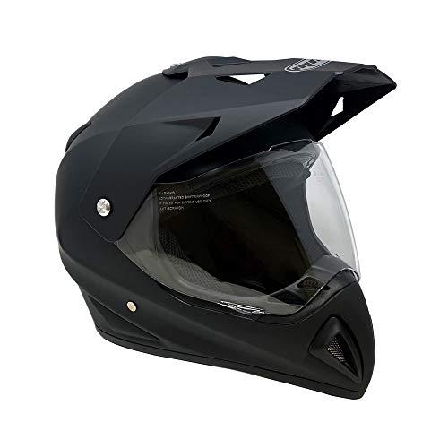 MMG 27V Motocross Full Face Helmet, Dual Sport Off Road Motorcycle Dirt Bike ATV, Includes Flip Up Visor, Medium, Matte Black