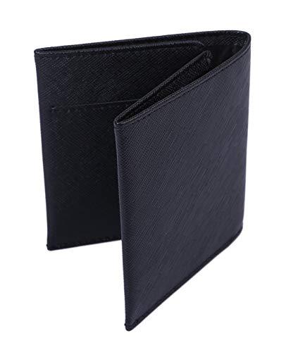 【Raccolta Luce】 マネークリップ 牛本革 レザー 軽量薄型0.8cm カード4枚収納可能 (ブラック)