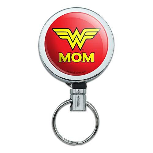 Wonder Woman Wonder Mom Logo Heavy Duty Metal Retractable Reel ID Badge Key Card Tag Holder with Belt Clip