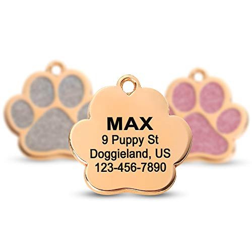 Custom Gold pet ID Tags Sparkly paw Shape Personalized Shiny Dog Glitter Silent Cute Dog tag for Puppies Laser Engraved Name & Phone Number Identification